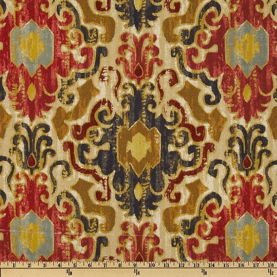 Two 96 X 50 Custom Curtain Panels Damask Red Blue Gold Tan Blue Gold Damasks And