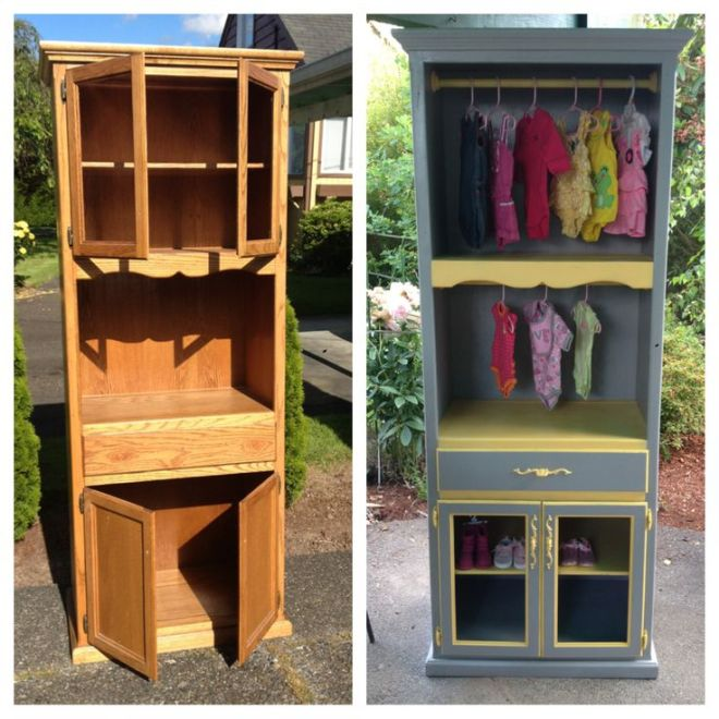 An old bookshelfpantry made into a baby clothing closet