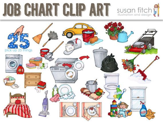 Job Chart Chore Chart Clip Art Sun Originals and Pets