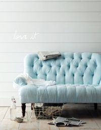 softest blue...tufted sofa. | Living Room | Lounge ...