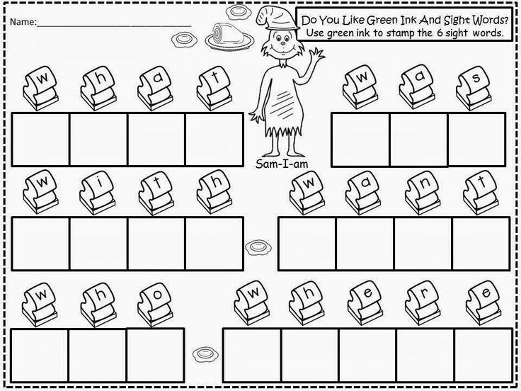 Free: Green Eggs And Ham Stamping Sight Words With Green