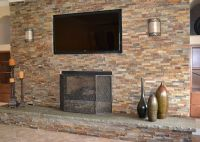 tile over brick fireplace | ... Stone Veneer Over Brick ...