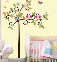 kids bedroom with nature theme tree | Birds Inspired Wall ...