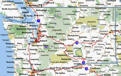Map of Washington State Cities and Towns Cycling Maps