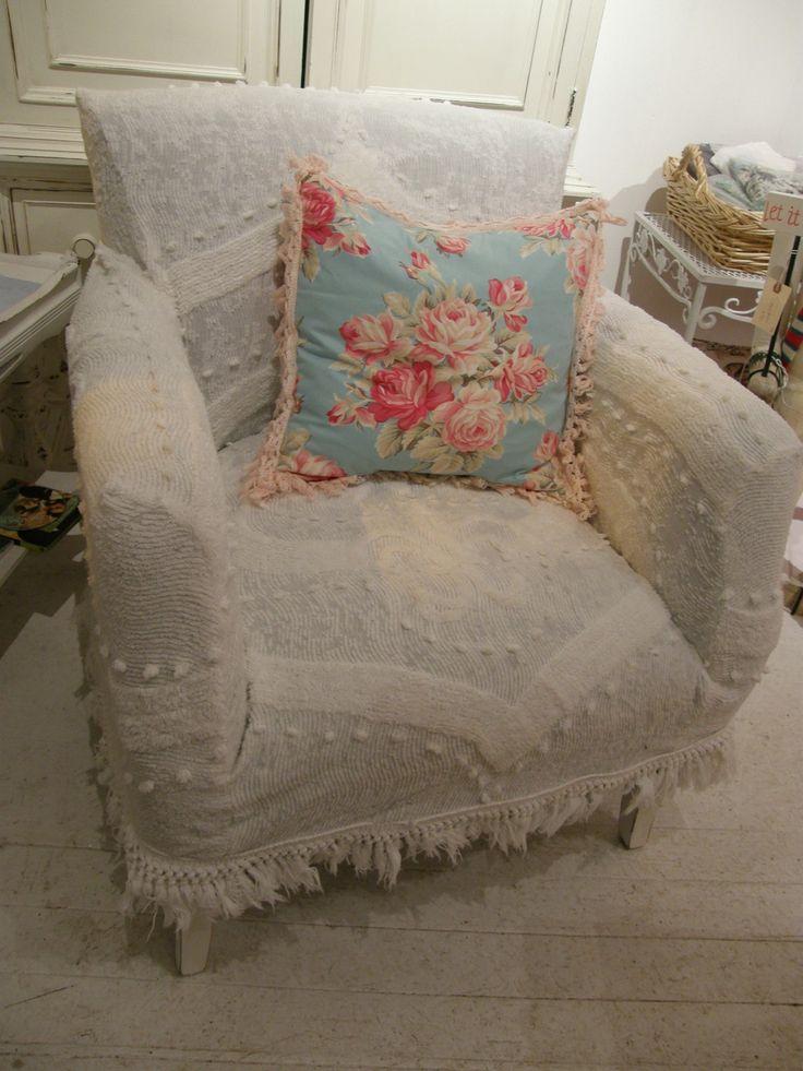 custom shabby chic chair s vintage chenille bedspread