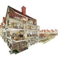 Cutaway drawing representing a London merchants house in ...