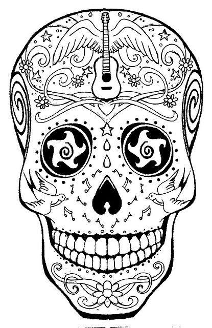 American Hippie Art ~ Coloring Page .. Music Sugar Skull