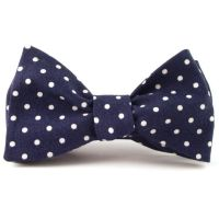 Navy Blue Bow Tie, Men's Navy Blue and White Classic Polka ...