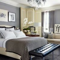 grey and tan bedroom