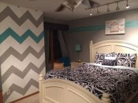 Teen girl room chevron wall blue gray | Jr. High room ...