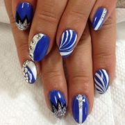 royal blue and white gel nail design