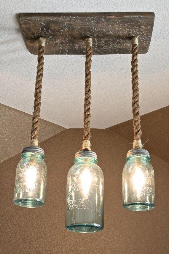 Mason Jar Triple Pendant Light With Vintage Blue Mason