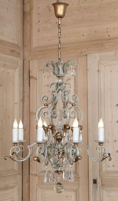Antique Country French Wrought Iron Amp Crystal Chandelier