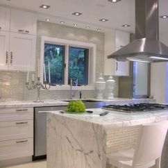 Kitchen Island Lighting Cabinet With Glass Doors White Carrera Marble Kitchen. Love The And ...
