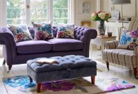 Joss and Main purple and floral | Living Room Ideas ...
