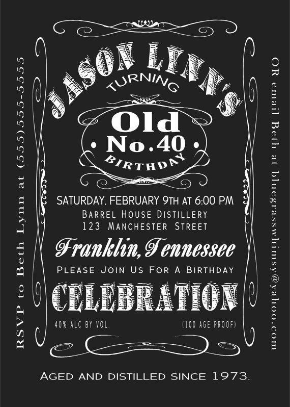 40th Birthday Jack Daniels Whiskey Label Invitation 5x7 By