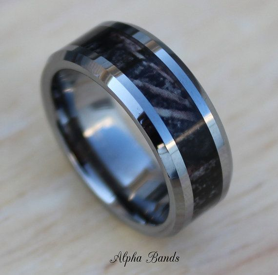 Camo Ring For Men Real Tree Style Tungsten Ring Size 8