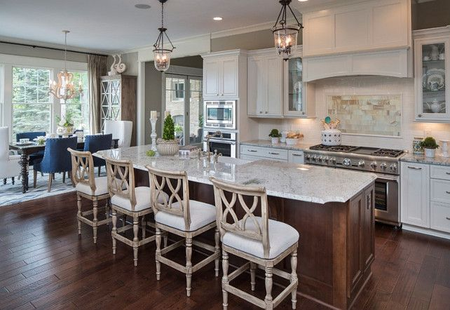 Kitchen. White Kitchen With Open Floor Plan. The Island