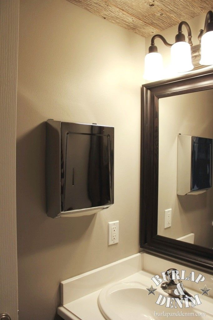 Disposable Paper Towel Dispenser in Guest Bath  sleek and