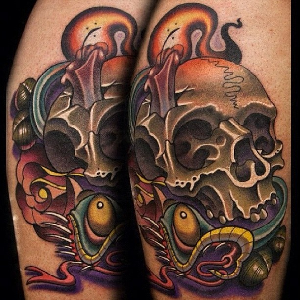New School Skull Tattoo  New School  Pinterest  The O