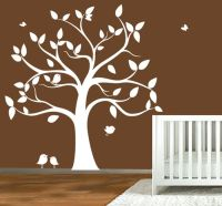 Childrens wall decal - tree silhouette with butterflies ...