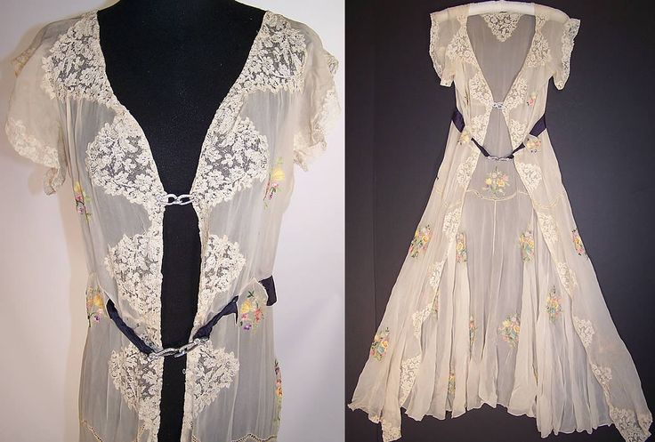 Vintage Silk Chiffon Lace Chain Stitch Embroidery Negligee