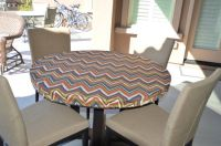 Round fitted tablecloth, outdoor fabric, elastic or ...