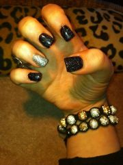 black and silver glitter gelish