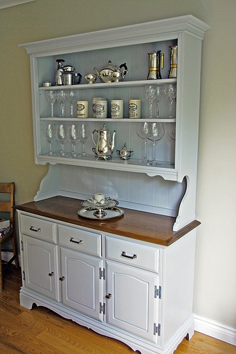 Painted Hutchbeadboard Backing Open Shelves For The