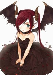 anime girl demon with red hair