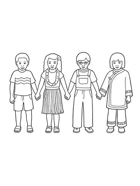 A line drawing showing four children from around the world