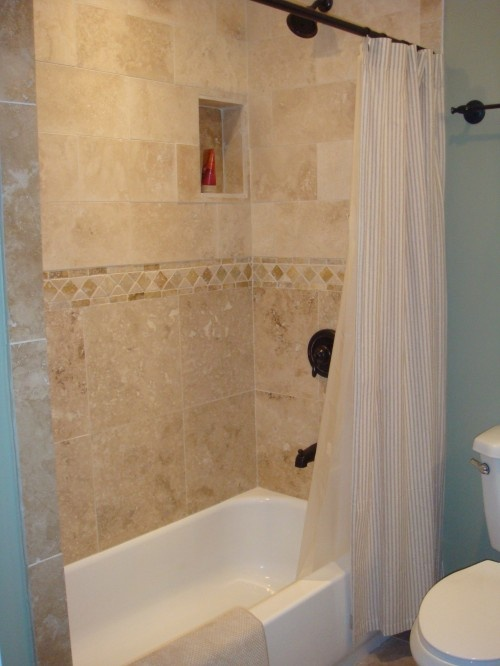 tile all the way to the top  still with a shower curtain