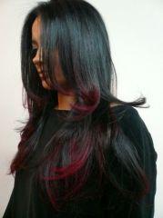 estilo puntas rojas ombre hair