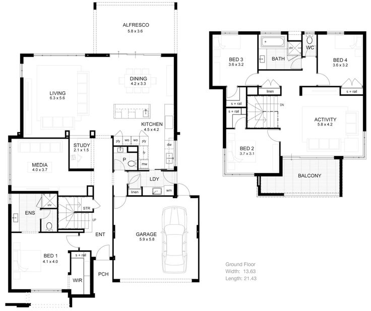 25+ best ideas about Double Storey House Plans on
