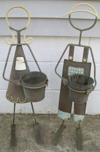 Worn Metal Plant Stand Girl & Boy Flower Pot Holder Garden ...