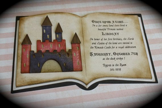 Storybook CASTLE Vintage Open Book Invite For Any Occasion