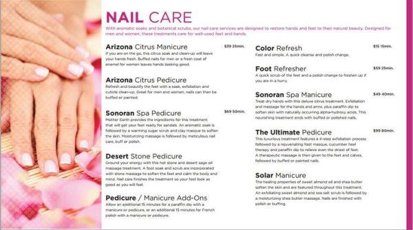 Nail Care Menu at Westward Look Resort in Tucson Arizona