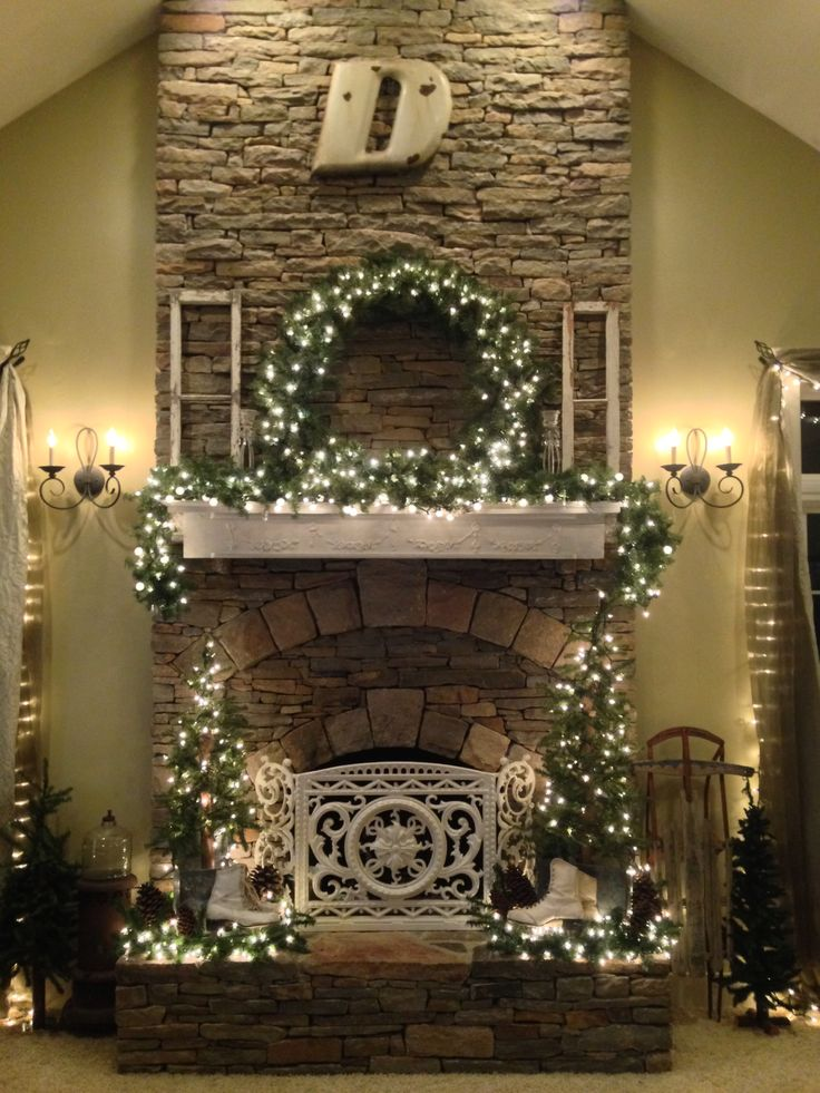 Rock Fireplace Mantel Cottage Style Christmas Fireplace And Mantle Decor