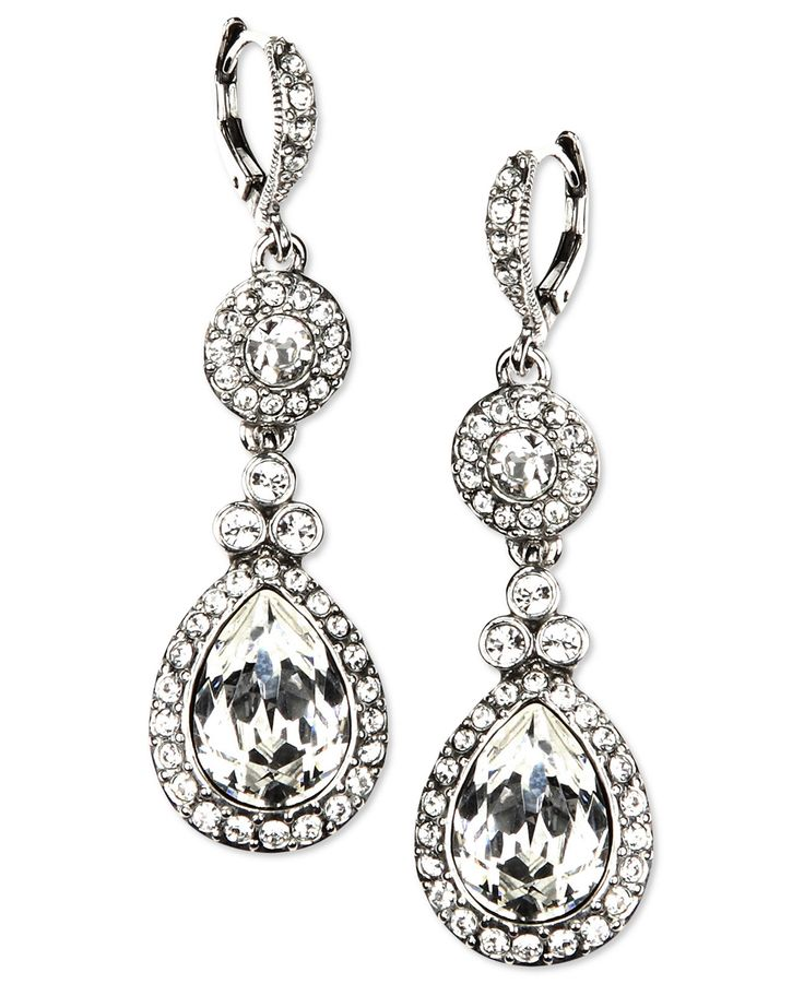 Givenchy Earrings, Silver-Tone Swarovski Element Double