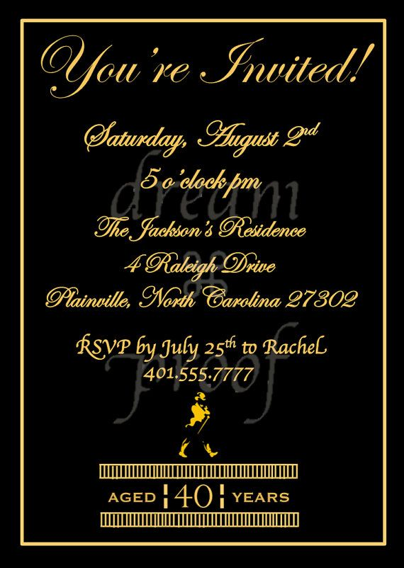 Customizable Johnny Walker Theme Invitation Husband By