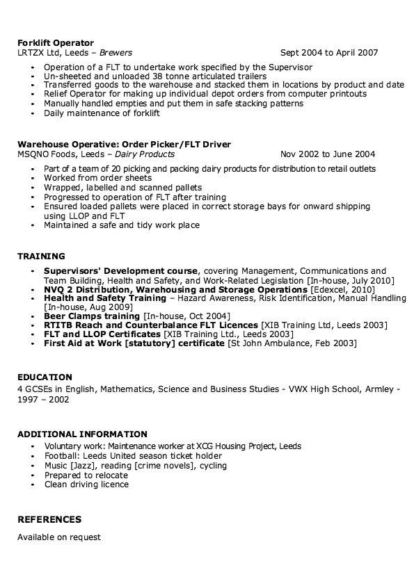 job resume examples warehouse