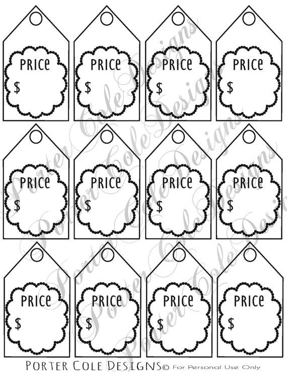 Price Tags Printable DIGITAL FILE by PorterColeDesigns on