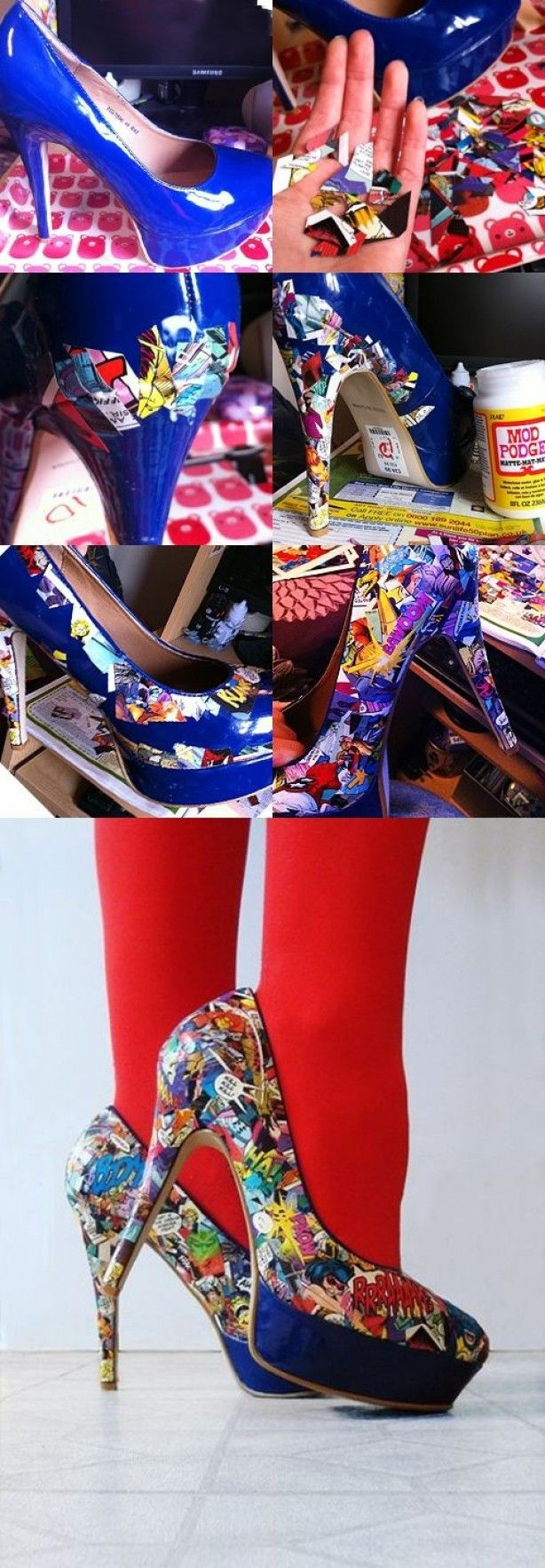 DIY high heels comic strips and Mod Podge