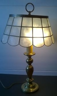 Vintage Brass Candlestick Table Lamp with Capiz Shell Lamp