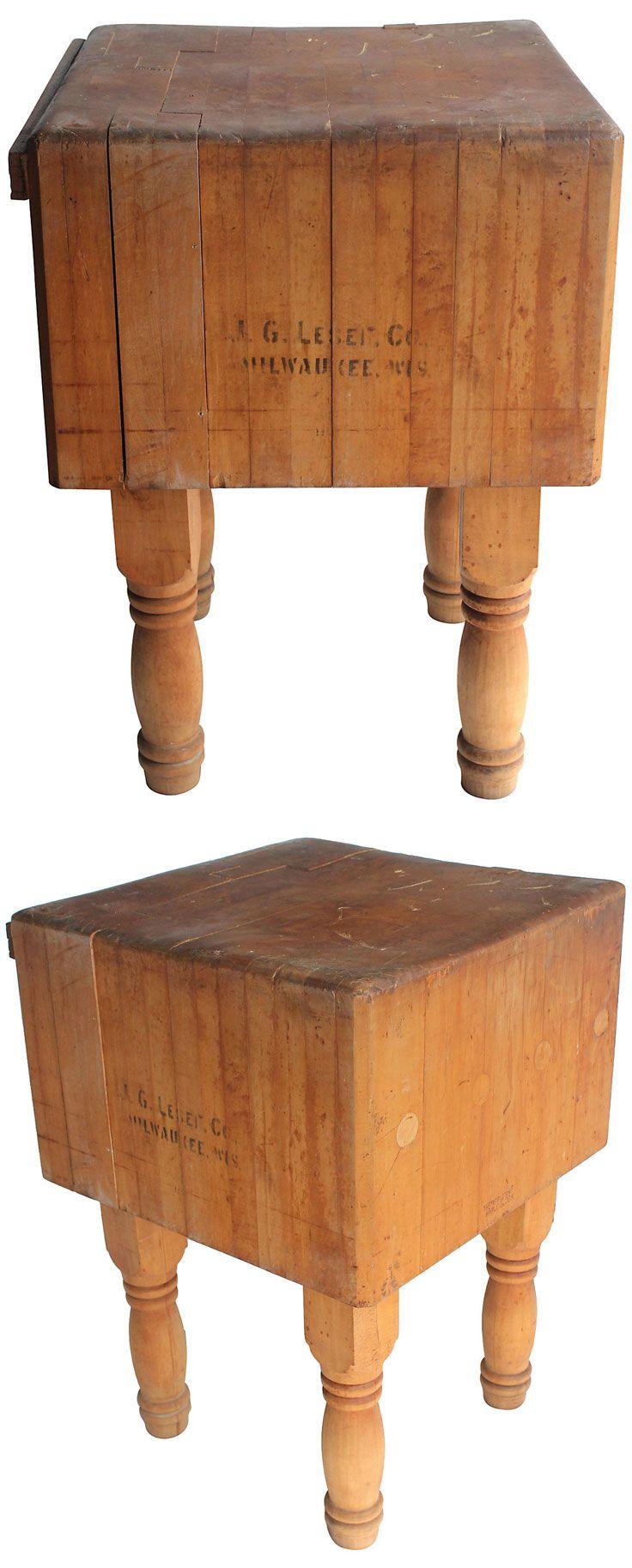 LOVE  Maple Butcher Block Table Vintage  1269