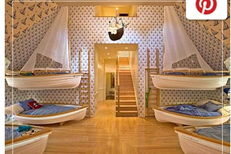 Kids room with multiple bunk beds  grandkids bedroom