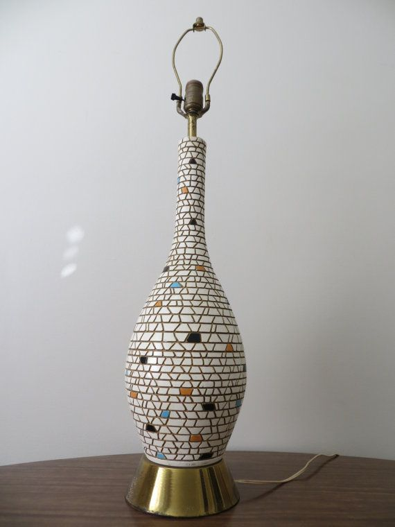 Mid Century Modern Mosaic Tile Tall Table Lamp