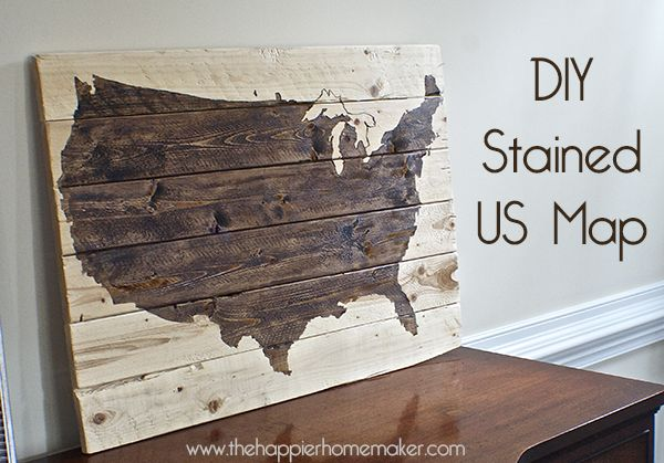 Stained Wooden United States Map  maps  Pinterest