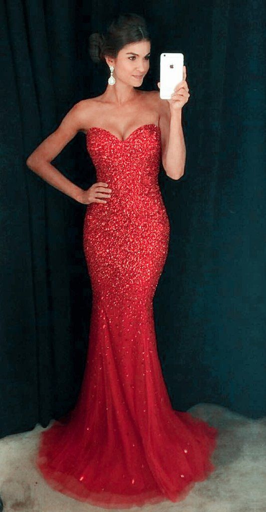 Red Mermaid Dresses For Prom