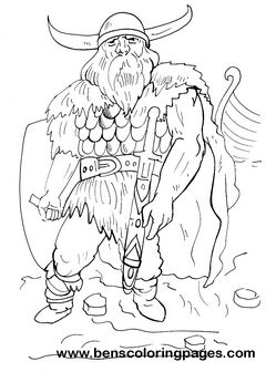 Children coloring pages, Viking warrior and Vikings on